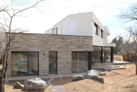 fuentesdesign modern home at the base of the foothills in Boulder, Colorado incorporates large German imported windows